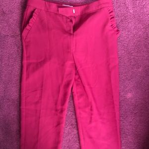 Maroon dress pants with pocket ruffle detail